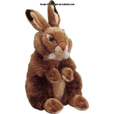 Peluche lapin roux assis